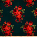 Techno Scuba Knit English Roses Teal/Red