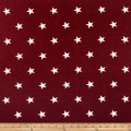 California Stretch French Terry Stars Burgundy