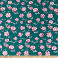 ITY Stretch Jersey Knit Mini Floral Emerald/Hot Pink