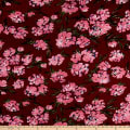 ITY Stretch Jersey Knit Asbtract Floral Wine/Pink