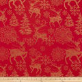 ArtCo Prints Poly Canvas Caribou Red Gold