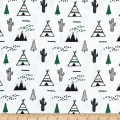 Flannel Snuggy Teepee/Cactus Green/White