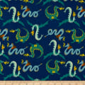 Monaluna Organic Poplin Magical Creatures There Be Dragons Blue