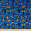 Paintbrush Studio Fabrics Ubuntu Tribal Masks with Dots Blue/Red
