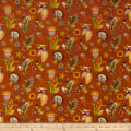 Paintbrush Studio Fabrics Ubuntu African Wildflowers Mocha Orange
