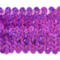 "5 Row 1 3/4"" Starlight Hologram Stretch Sequin Trim Fuchsia"