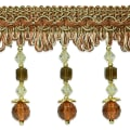 Toni Cube Bead Fringe Trim Brown Multi