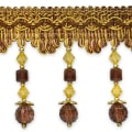 Toni Cube Bead Fringe Trim Chocolate Multi