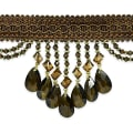 Isabella Scalloped Bead Fringe Trim Dark Brown Multi