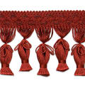 Tied Tassel Fringe Trim Wine (Precut, 10 Yards)