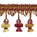 Stacia Onion Tassel Bead Fringe Cranberry Multi (Precut, 20 Yards)