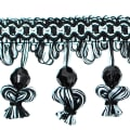 Stacia Onion Tassel Bead Fringe Black/White (Precut, 20 Yards)