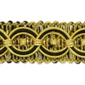 Collette Woven Braid Circle Trim Black/ Gold (Precut, 20 Yards)