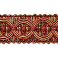 Collette Woven Braid Circle Trim Cranberry/ Sage (Precut, 20 Yards)