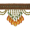 Isabella Scalloped Bead Fringe Trim Cinnamon Multi (Precut, 10 Yards)