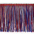 "4"" Metallic Chainette Fringe Trim Red/White/Blue (Precut, 20 Yards)"