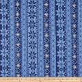 Cotton Spandex Jersey Knit Christmas Fair Isle Love Blue