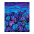 "Timeless Treasures Digital Misty 36"" Hydrangea Panel Midnight"