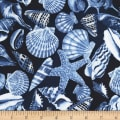Timeless Treasures Nautical Mile Allover Seashells Navy