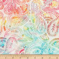 Timeless Treasures Tonga Batik Border Buttercream Folksy Paisley Satin