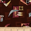 Hoffman Barkcloth A Little Retro Vibe Tribal Mod Burgundy