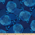 Northcott Dolce Vita Floral With Leaves Indigo