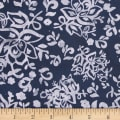Northcott Banyan Batik Floral Boxes Blue Ink