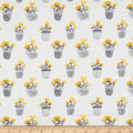 Northcott Sew Sweet Potted Floral Yellow/Gray