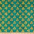 In The Beginning Fabrics Hey Diddle Diddle Flower Trios Digital Print Teal