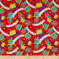 In The Beginning Fabrics Happy Birthday Cakes & Banners Digital Print Red