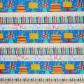 In The Beginning Fabrics Happy Birthday Border Stripe Digital Printed Blue