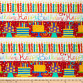 "In The Beginning Fabrics Happy Birthday Border Stripe Digital Printed 24"" Panel Red"