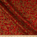 Kaufman Winter's Grandeur Metallic 7 Holly Red