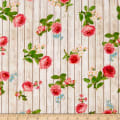 Kaufman Farmhouse Rose Wood Flowers Ivory