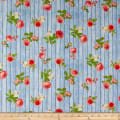 Kaufman Farmhouse Rose Wood Flowers Blue