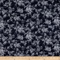 Kaufman Farmhouse Rose Toile Flowers Black