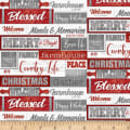 Henry Glass Holiday Homestead Words Red/Gray