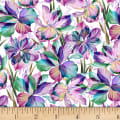 P&B Textiles Flora Fantasia Flowers/Stems Purple