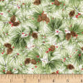 P&B Textiles Christmas Bird Song Pinecones/Berries Multi
