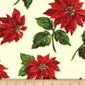 Michael Miller Happy Holly-Days Poinsettia in the Snow Winter