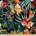 Telio Bloom Stretch Cotton Sateen Floral Black Pumpkin