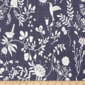 Telio Denim Cotton Print Floral Bird Dark Blue
