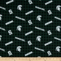 NCAA- Michigan State 1192 Flannel Check Green/Black/White