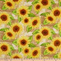 Wilmington Jardin Du Soleil Sunflower Patchwork Tan