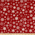 Designer Flannel, Christmas Snowflakes Red