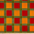Supreme Kente African Print 6 Yards Plaid Orange