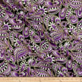 Benartex Cat-I-tude Christmas Paisley Tonal Swirl Purple