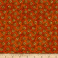 Benartex Harvest Berry Tossed Jacobean Flower Orange