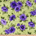 Benartex Midnight Poppies Poppies Green/Purple