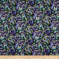 Benartex Midnight Poppies Mosaic Petals Green/Purple